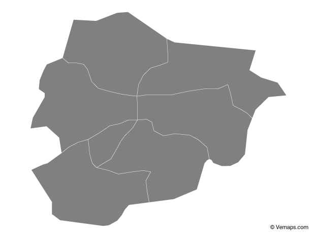 Grey Map of Andorra with Parishes