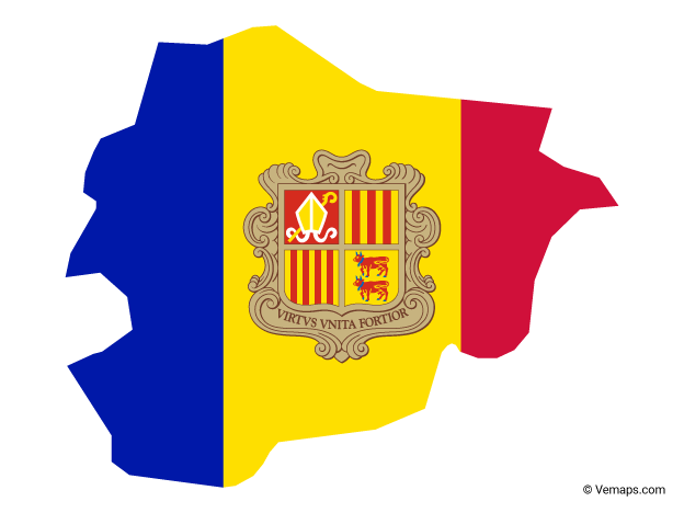 Flag Map of Andorra