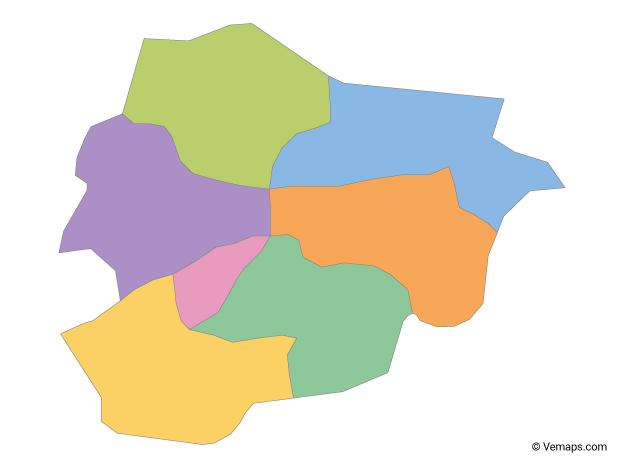 Multicolor Map of Andorra with Parishes