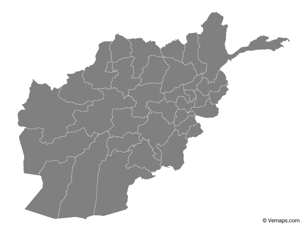 Grey Map of Afghanistan with Provinces