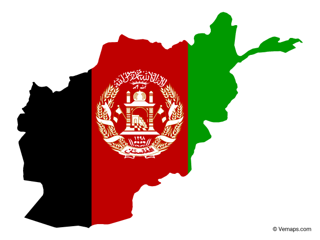 Flag Map of Afghanistan