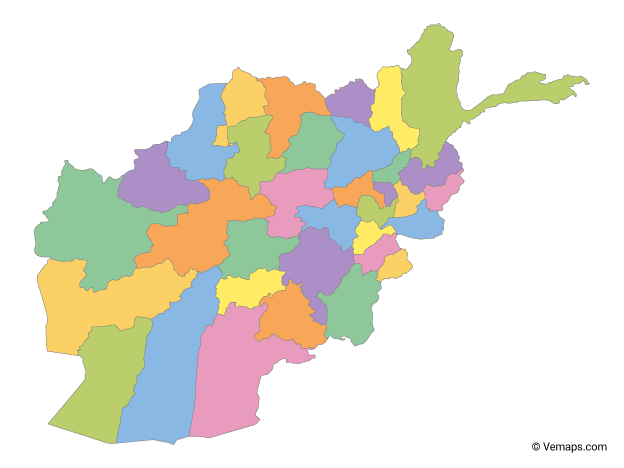 Multicolor Map of Afghanistan with Provinces