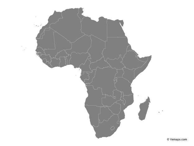 Grey Map of Africa with Countries