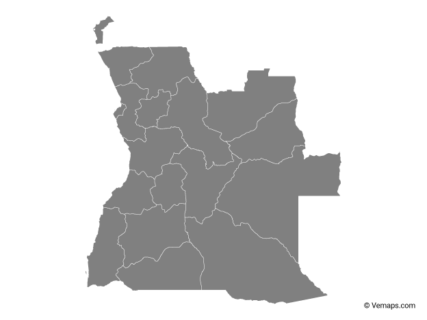 Grey Map of Angola with Provinces