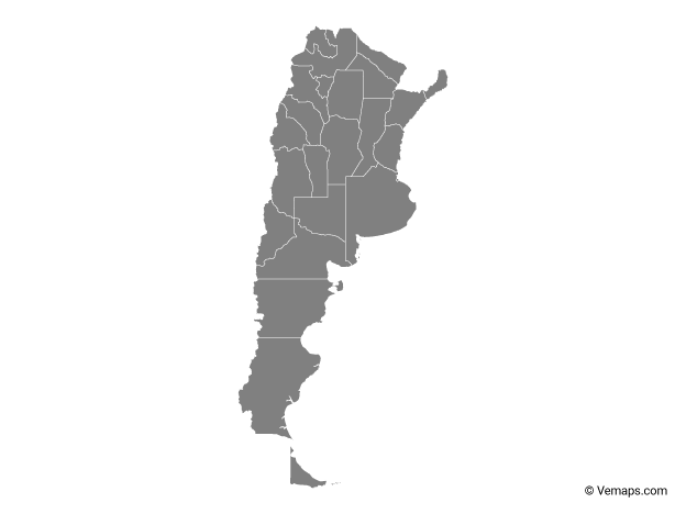 Grey Map of Argentina with Provinces