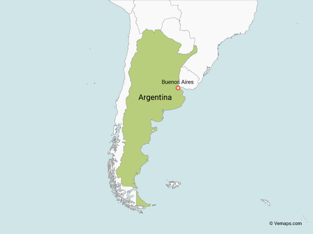 Map of Argentina with Neighbouring Countries