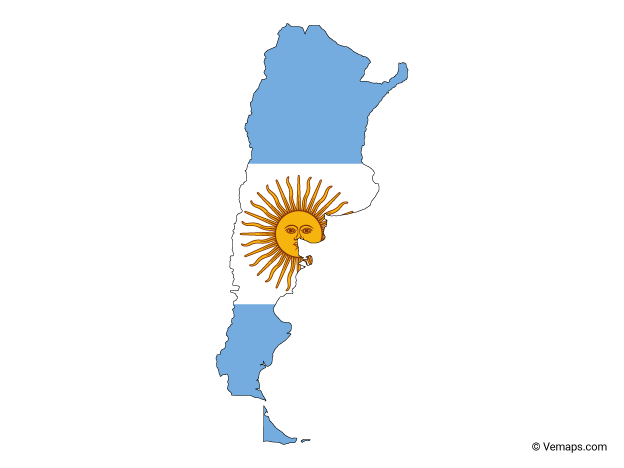Flag Map of Argentina