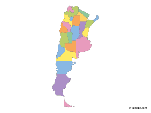 Multicolor Map of Argentina with Provinces