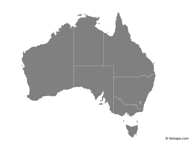 Grey Map of Australia with States and Territories