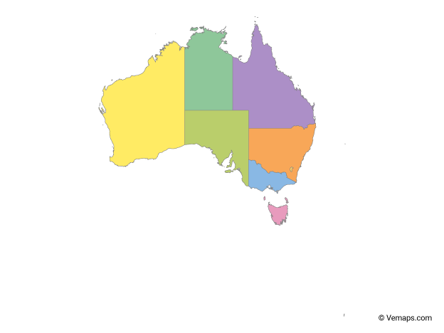 Multicolor Map of Australia with States and Territories