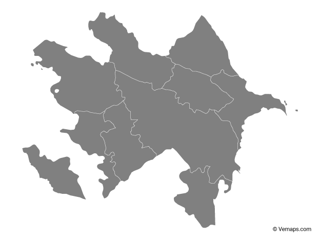 Grey Map of Azerbaijan with Regions