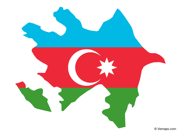 Flag Map of Azerbaijan