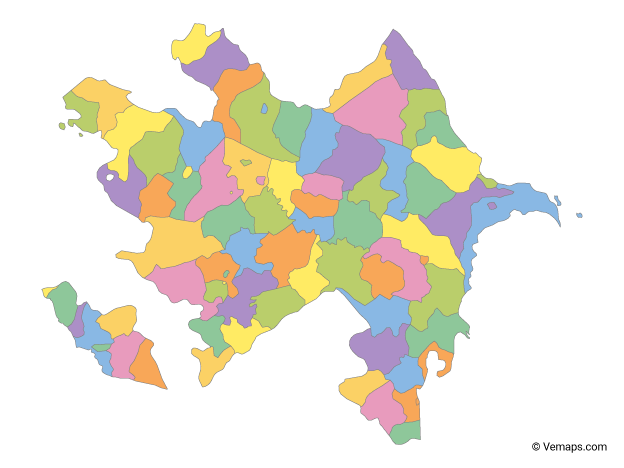 Multicolor Map of Azerbaijan with Regions