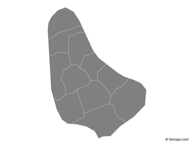 Grey Map of Barbados with Parishes