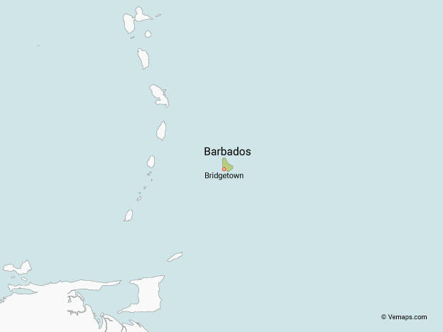Map of Barbados with Neighbouring Countries