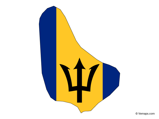 Flag Map of Barbados