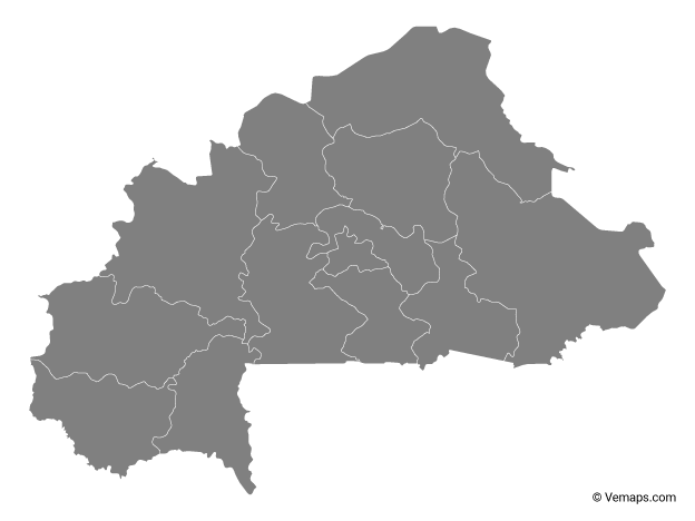 Grey Map of Burkina Faso with Regions