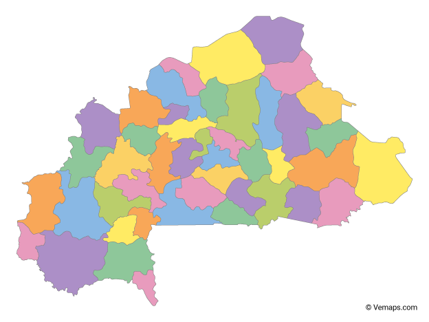 Multicolor Map of Burkina Faso with Regions