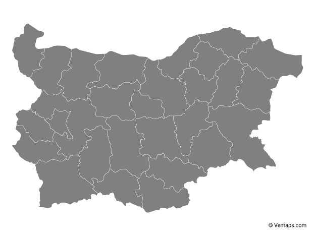 Grey Map of Bulgaria with Provinces