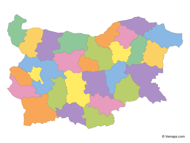 Multicolor Map of Bulgaria with Provinces