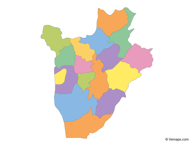 Multicolor Map of Burundi with Provinces