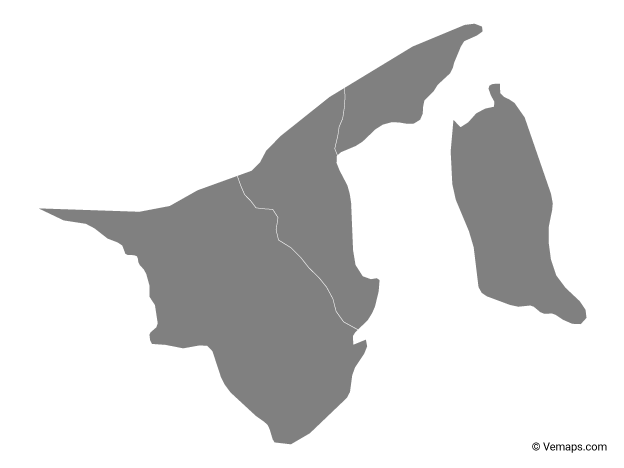Grey Map of Brunei with Districts