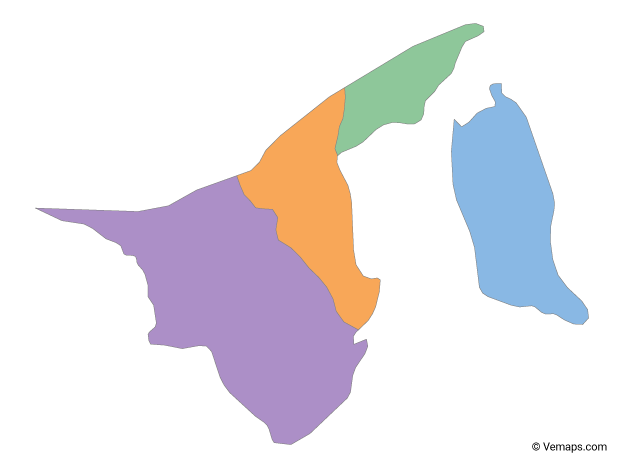 Multicolor Map of Brunei with Districts
