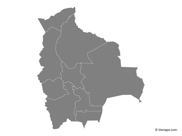 Grey Map of Bolivia with Departments