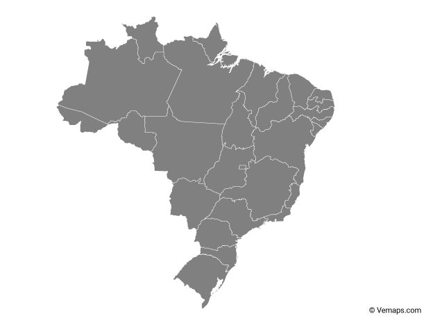 Grey Map of Brazil with States