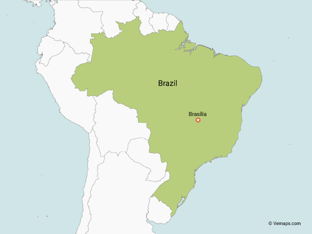 Map of Brazil with Neighbouring Countries