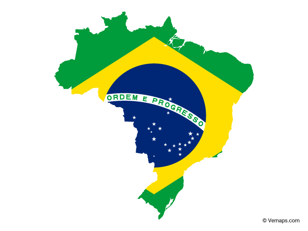 Flag Map of Brazil