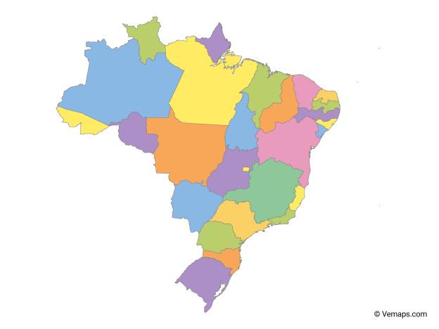 Multicolor Map of Brazil with States