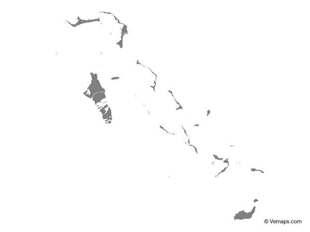 Grey Map of Bahamas with Districts