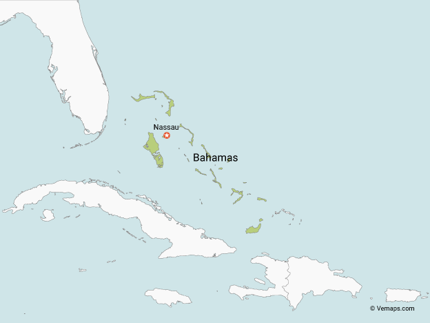 Map of Bahamas with Neighbouring Countries