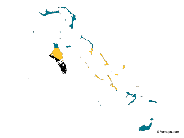 Flag Map of Bahamas