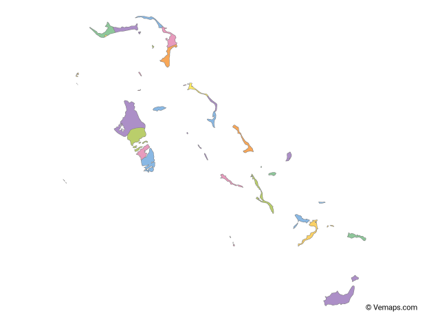 Multicolor Map of Bahamas with Districts