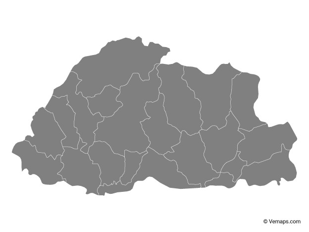 Grey Map of Bhutan with Districts