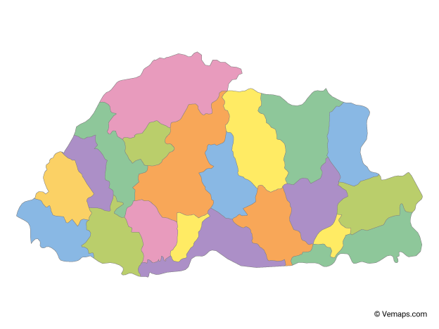 Multicolor Map of Bhutan with Districts
