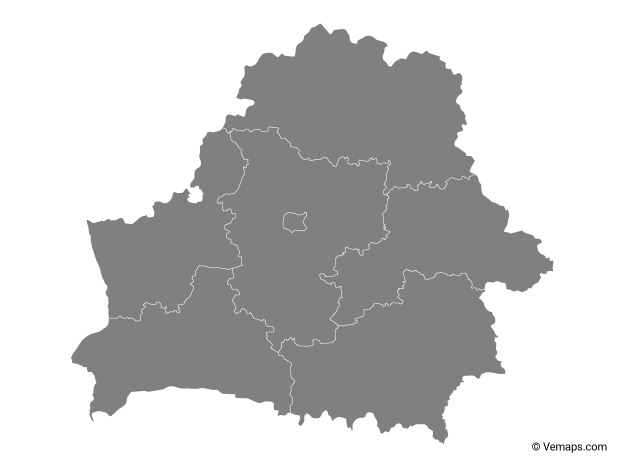 Grey Map of Belarus with Regions