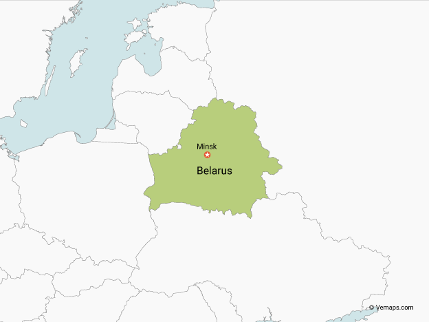 Map of Belarus with Neighbouring Countries