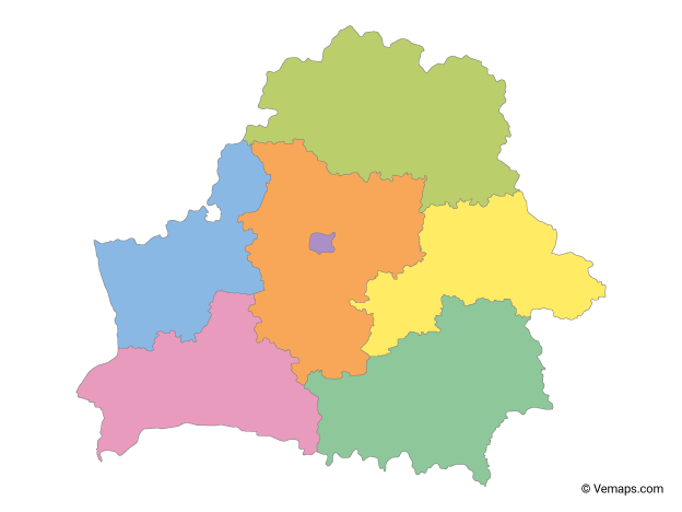 Multicolor Map of Belarus with Regions