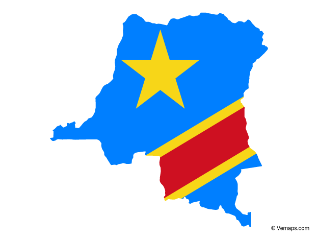 Flag Map of Democratic Republic of the Congo