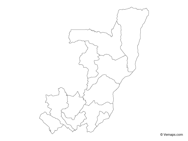 Outline Map of Republic of the Congo with Departments