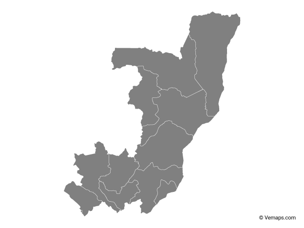 Grey Map of Republic of the Congo with Departments