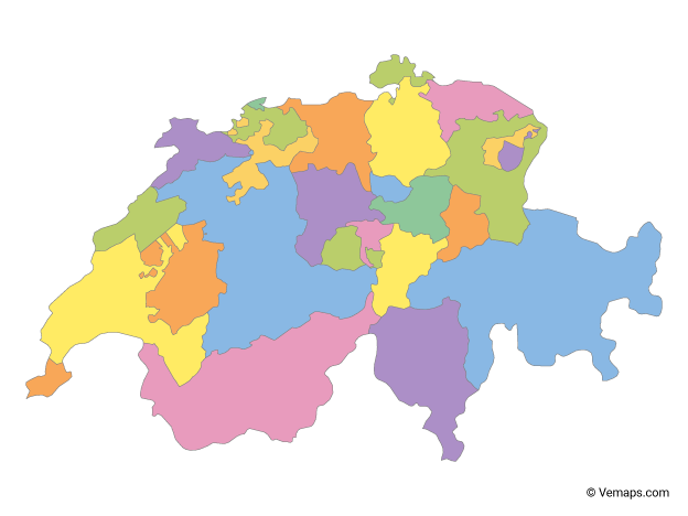 Multicolor Map of Switzerland with Cantons