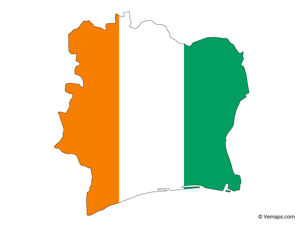 Flag Map of Ivory Coast