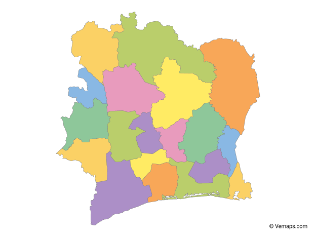 Multicolor Map of Ivory Coast with Regions