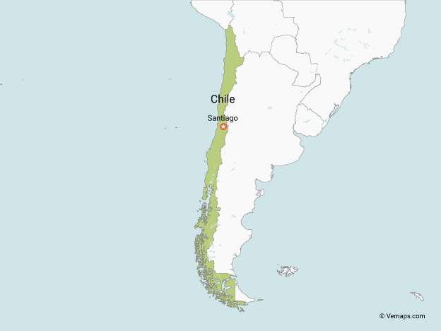 Map of Chile with Neighbouring Countries