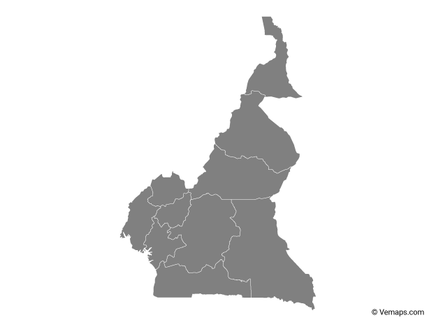 Grey Map of Cameroon with Regions