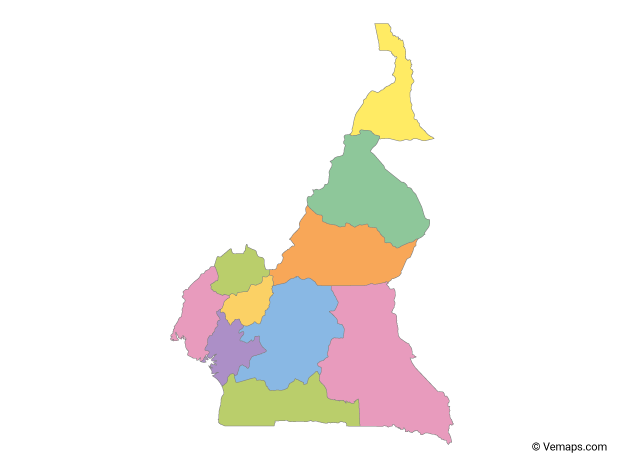 Multicolor Map of Cameroon with Regions